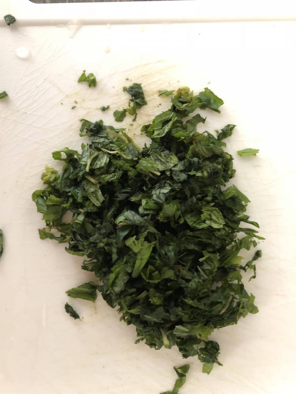 chopped mint for tzatziki recipe