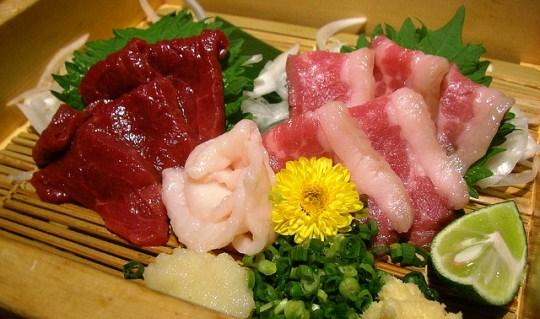 best sushi in Tokyo Basashi (raw horse sashimi)