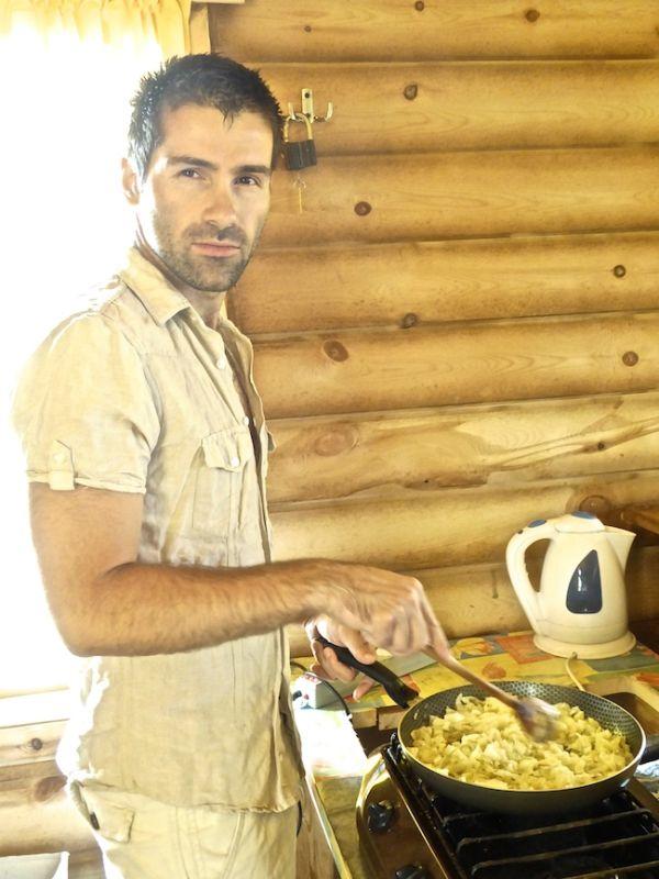 Sebastien preparing the filling for the vareniki