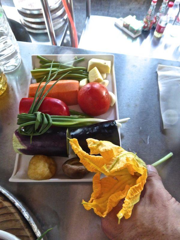 Vegetables to use including pumpkin flower