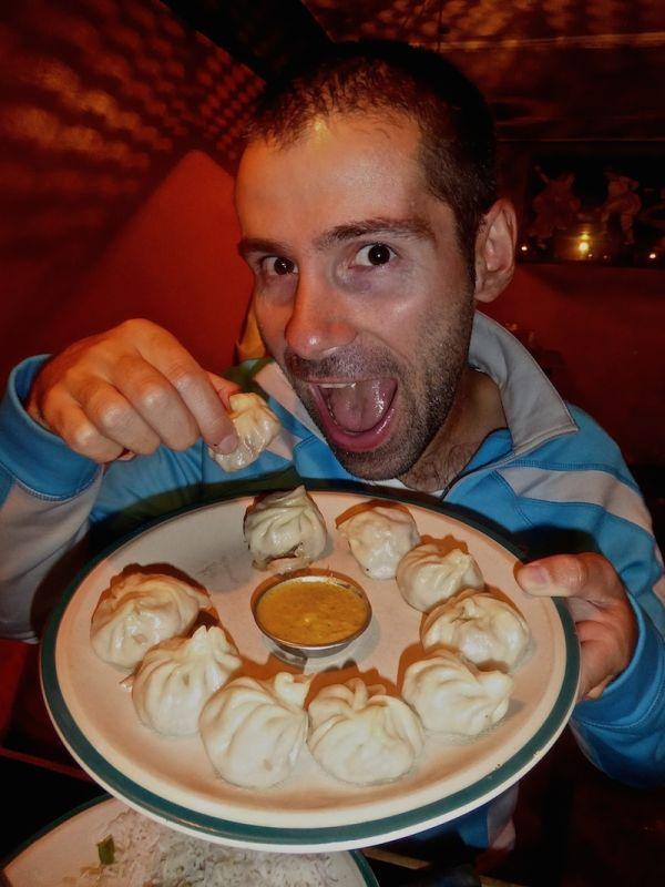 Sebastien and a plate of momos