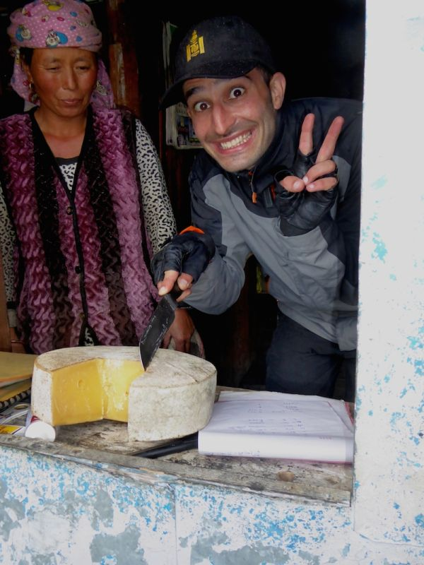Stefan trying yak cheese