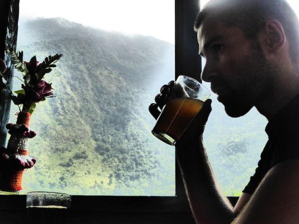 Sebastien trying honey lemon hot drink