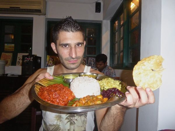 Indian food: Stefan with a vindaloo Thali