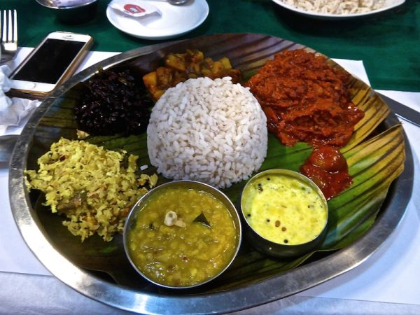 A fish based thali in Kochi, Kerala, South India
