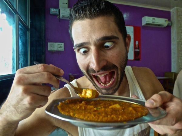 Stefan with paneer curry dish