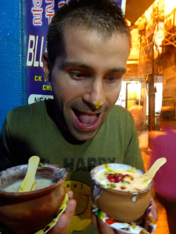 Sebastien enjoying a tasty sweet lassi in Varanasi