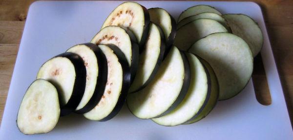 Sliced aubergines