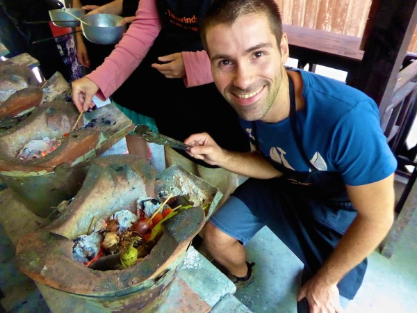 Seb with the aubergine jeow ingredients