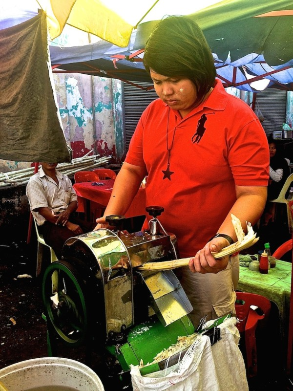 Sugar cane juice stand in Yangon