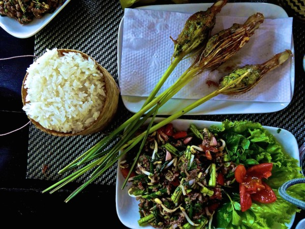 Best food in Laos: freshly made buffalo laap with sticky rice