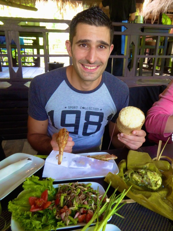 Stefan with buffalo laap and sticky rice