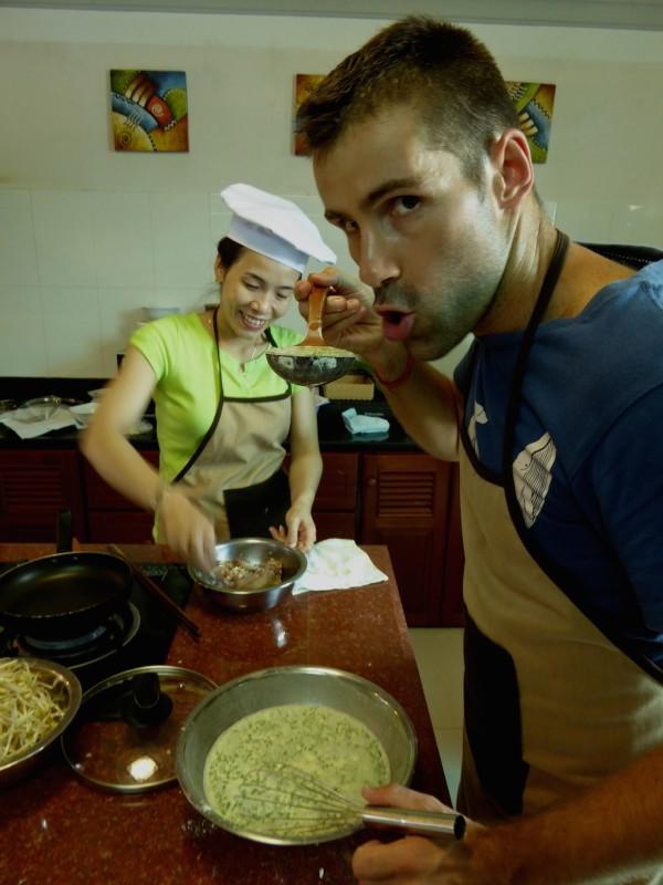 Sebastien making the Banh Xeo rice batter