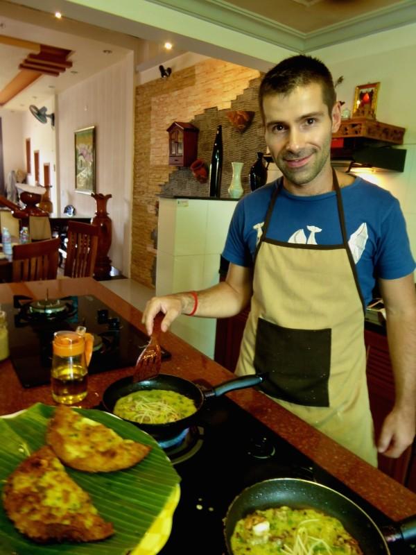 Sebastien cooking Banh Xeo