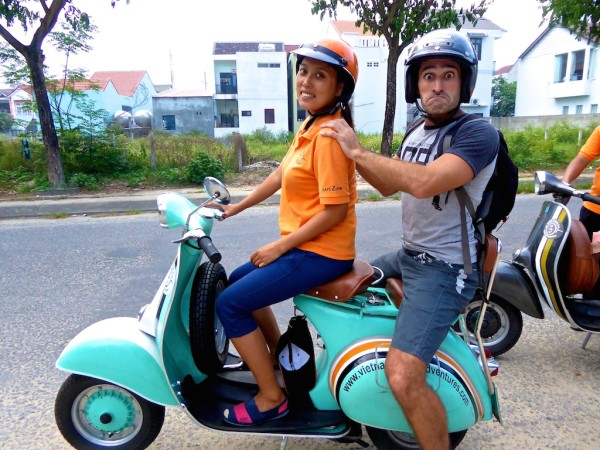 Stefan and Trinh on a vespa