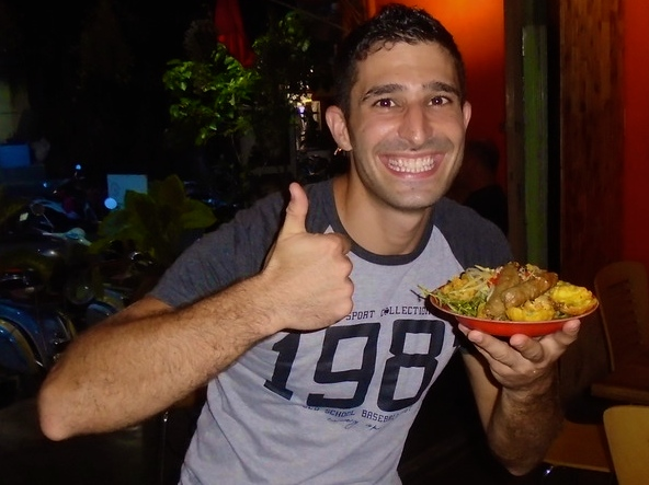 Stefan with plate of banh can