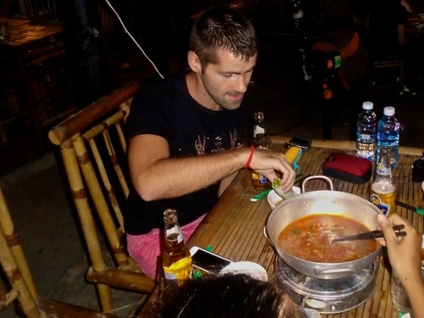 Seb enjoying a Vietnamese hot pot