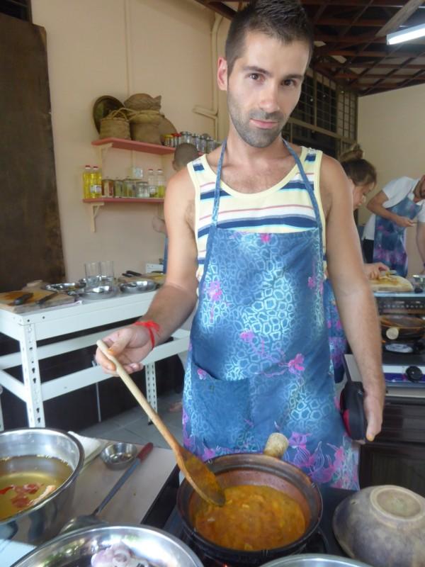 Sebastien making Malaysian beef rendang