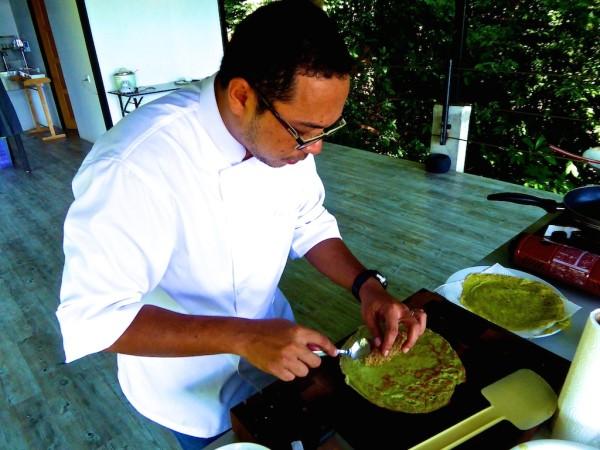 Chef Annuar Hassan cooking pandan pancakes