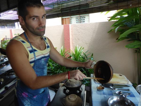 Sebastien toasting desiccated coconut