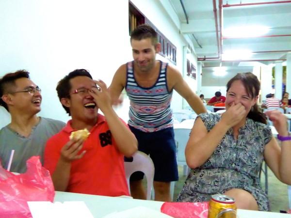 Trying durian puffs in Kuching, Sarawak Malaysia