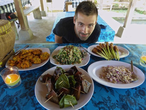 Indonesian sayur urap in Ubud cooking class Bali