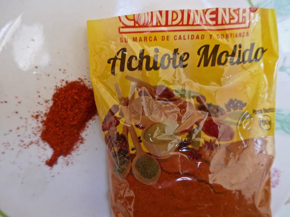 Achiote powder ingredient for recipe for locro de papa